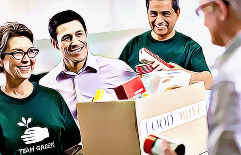 organización sin fines de lucro realizando una donación de alimentos